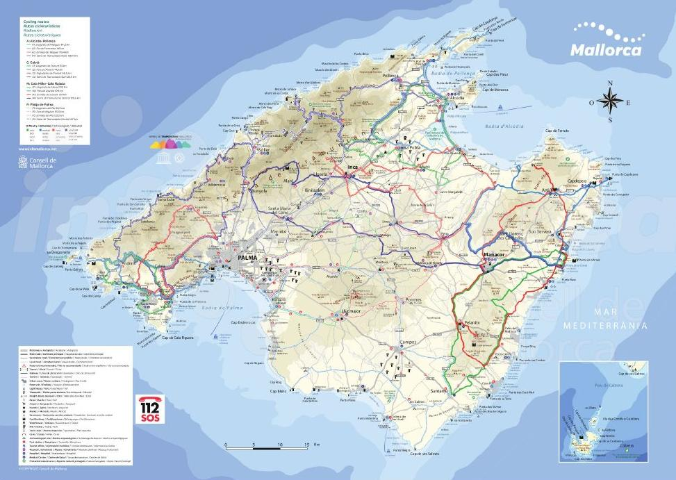Cycling map in Majorca.