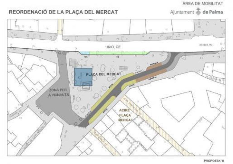 Map of the Plaça del Mercat area