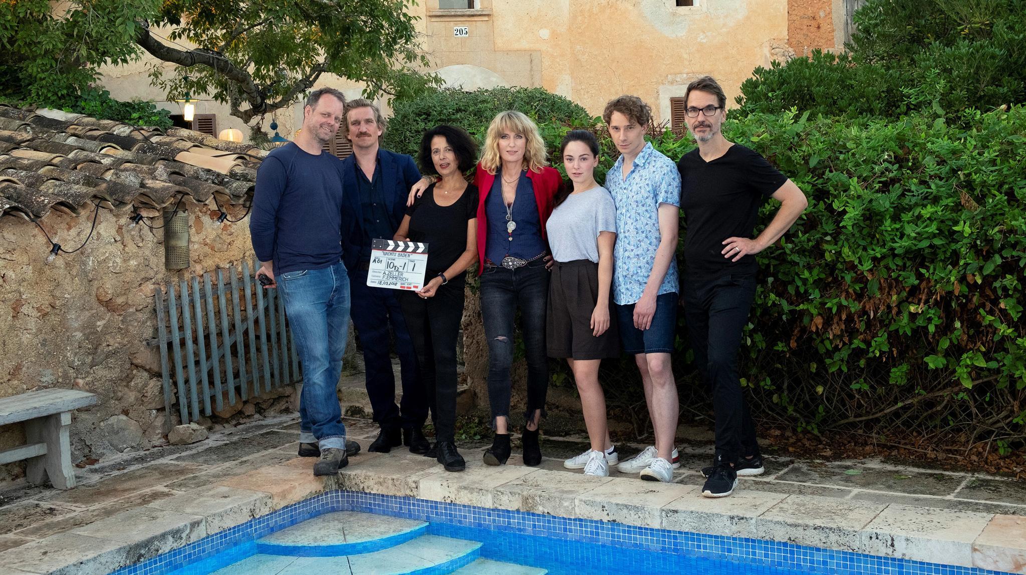 Filming of the German film Nachts Baden in Majorca