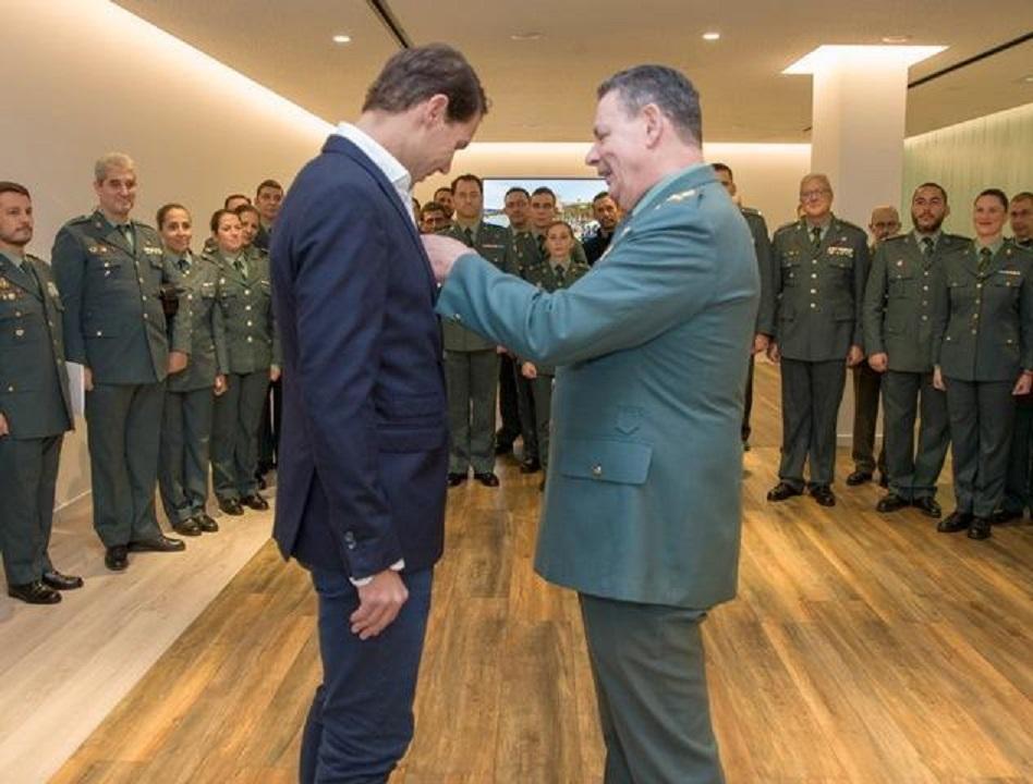 Rafa Nadal is honoured by the Guardia Civil