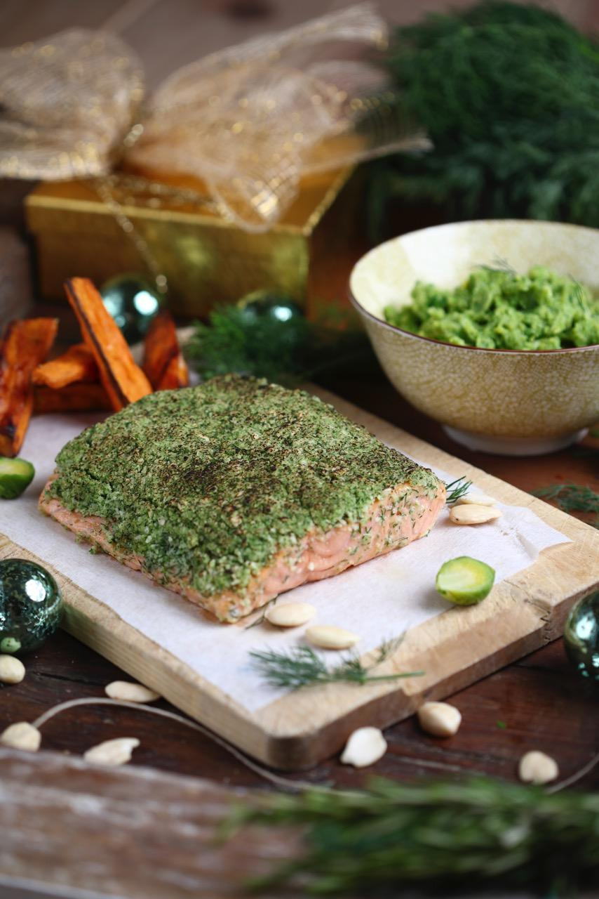Roasted Almond & Dill crusted Salmon with creamed Brussels sprouts & anchovy