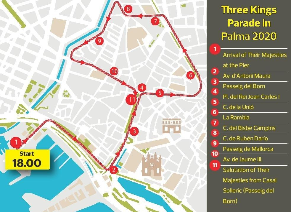 Route Map for Three Kings Parade in Palma