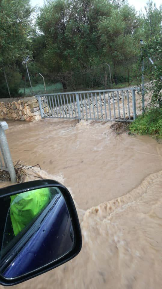 Flooded road in Son Severa