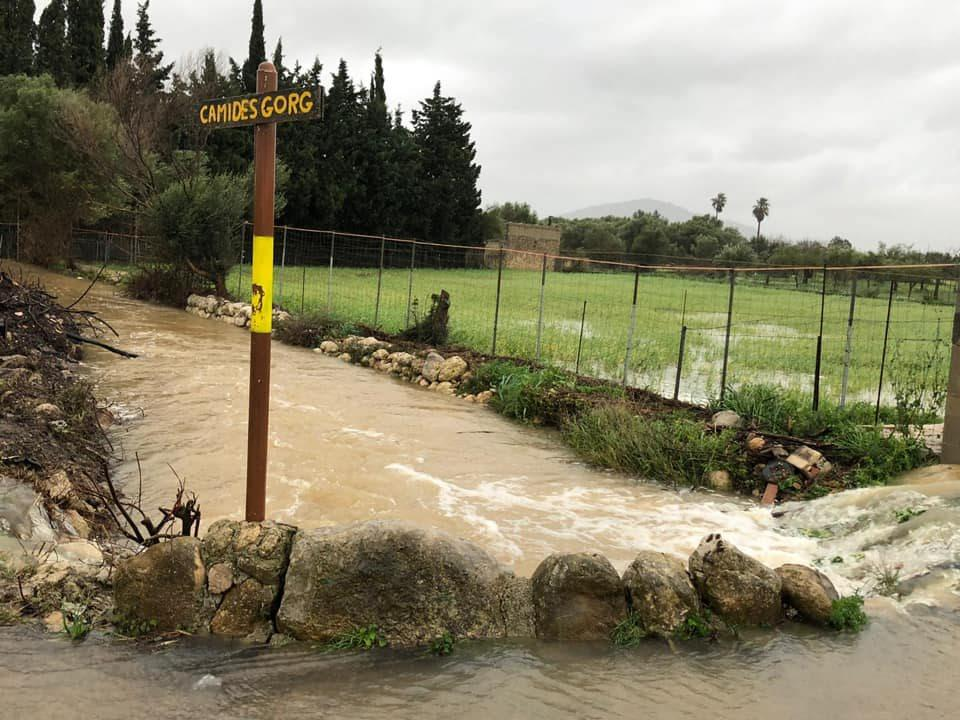The old road ofCampanet- Inca flooded when the torrente burst its banks