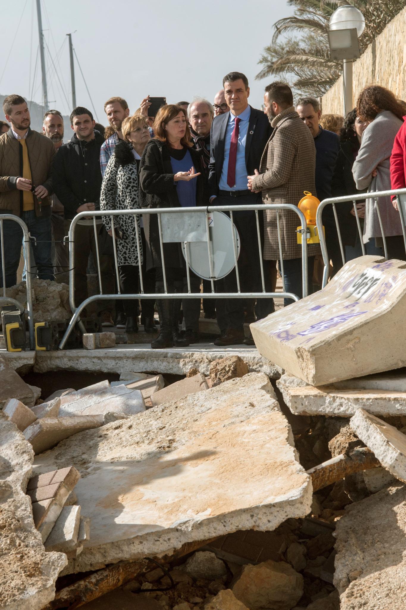 Sánchez visita la zona afectada por la borrasca Gloria en Mallorca