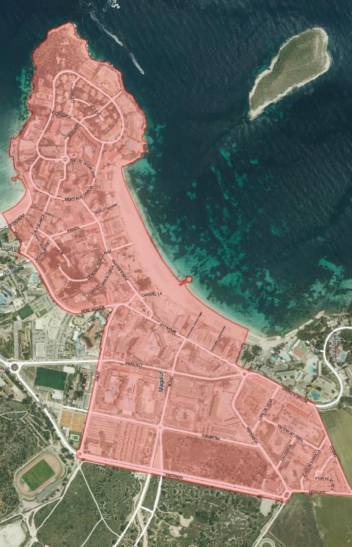 The area of Magaluf to be affected by the new law