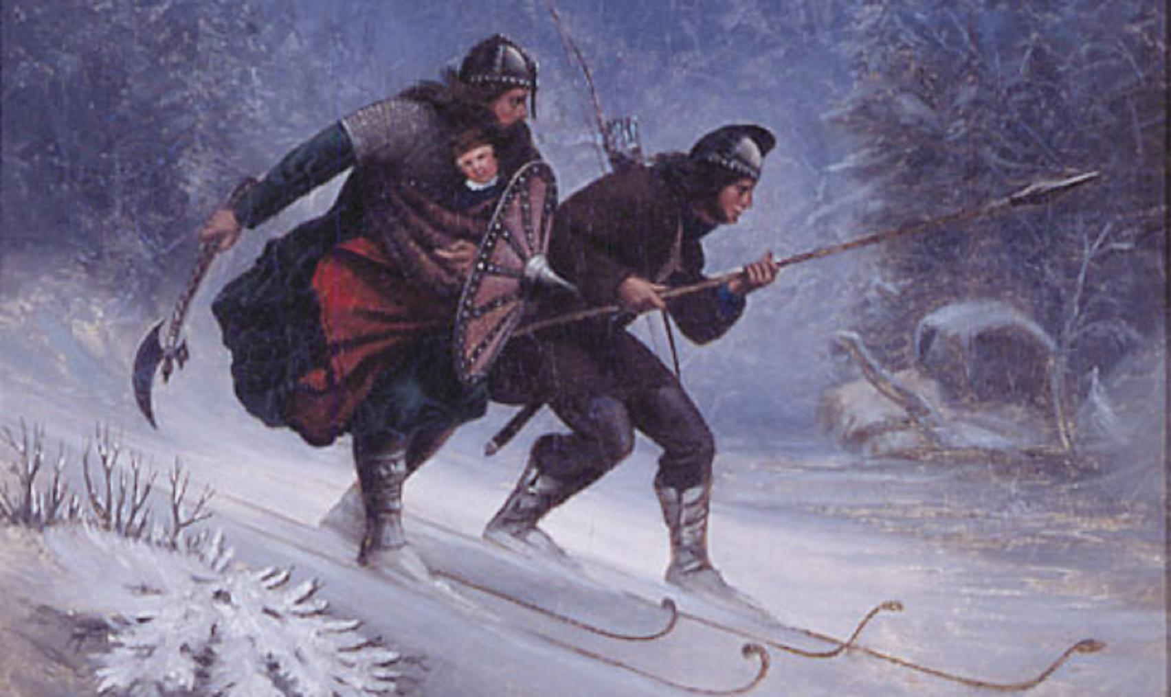 Håkon Håkonsson, the two-year-old future king of Norway, being taken from Lillehammer to Østerdalen in 1206