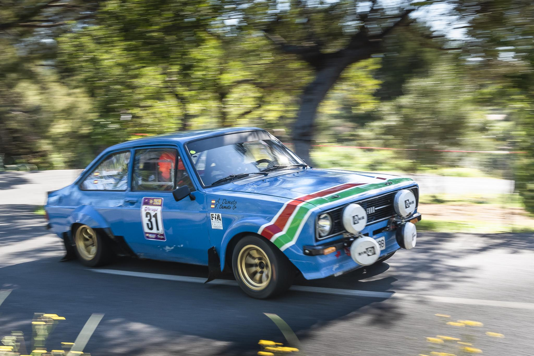 Another classic competitor, Ford Escort with all the period rally gear.