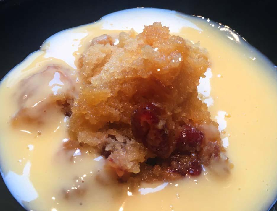 Golden date pudding and custard