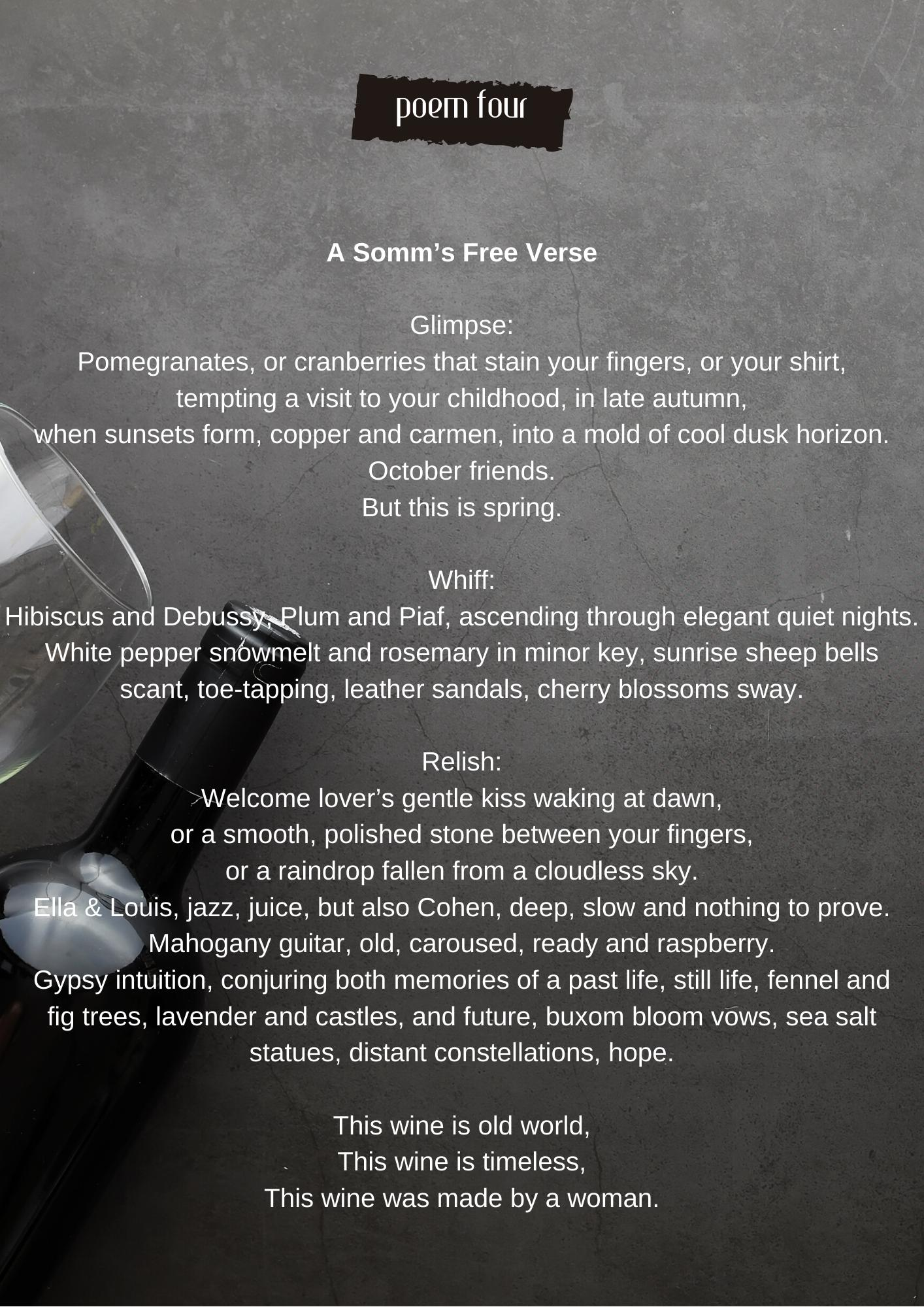 One of the final five poems by Kristy Brooks