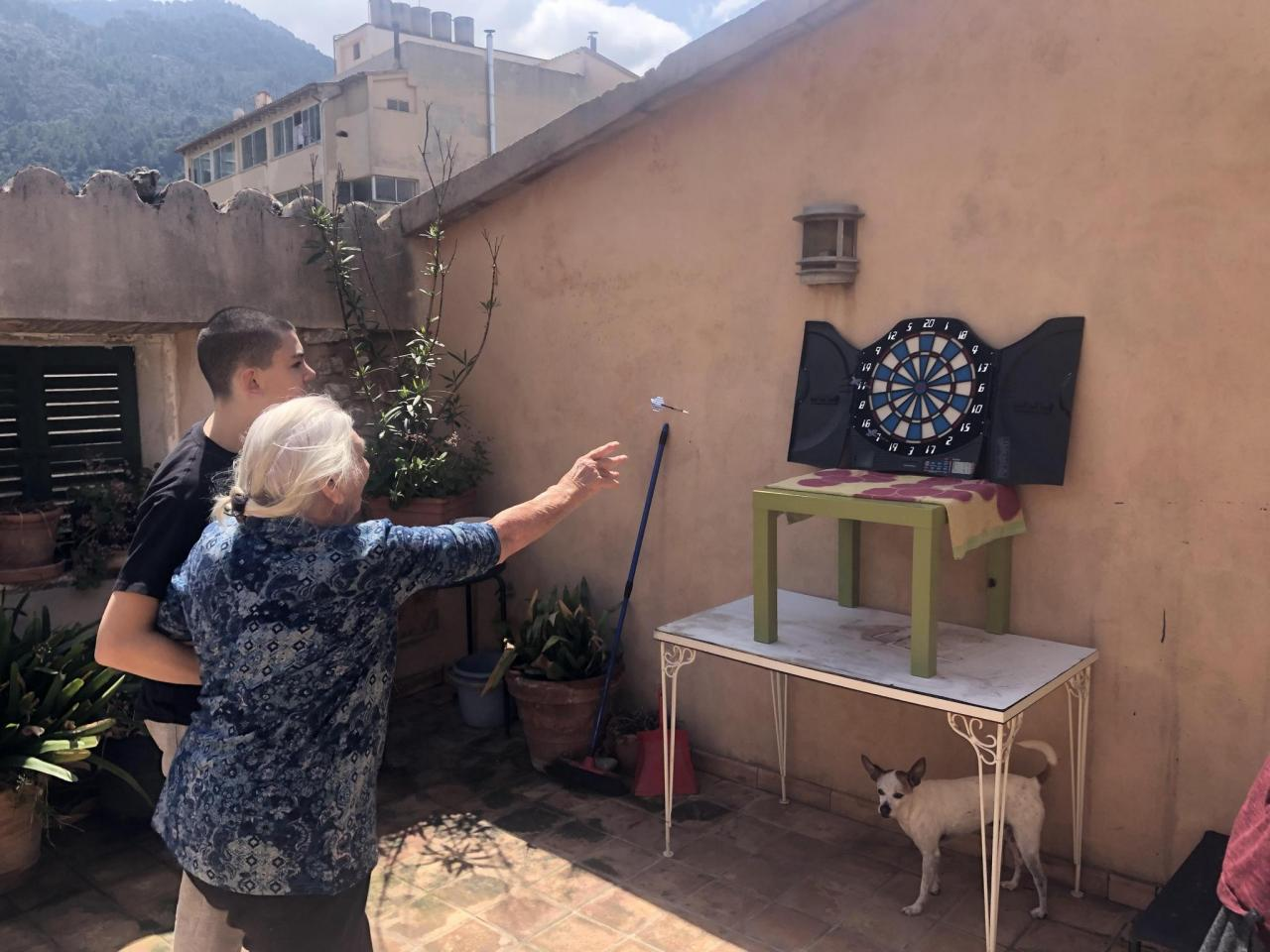 Darts on the terrace with granny.