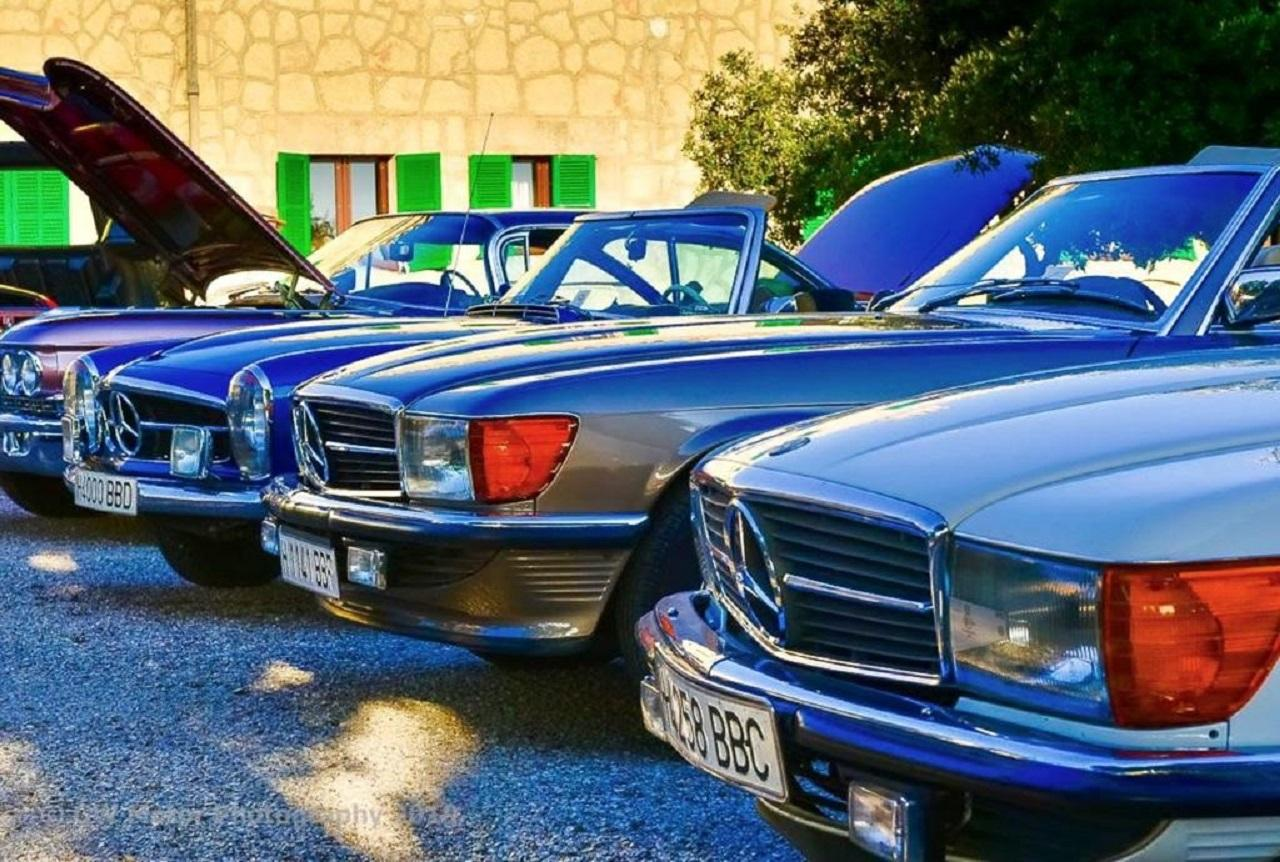 A brace of Mercedes SLs at a sunset picnic in Randa. Back in the BC days