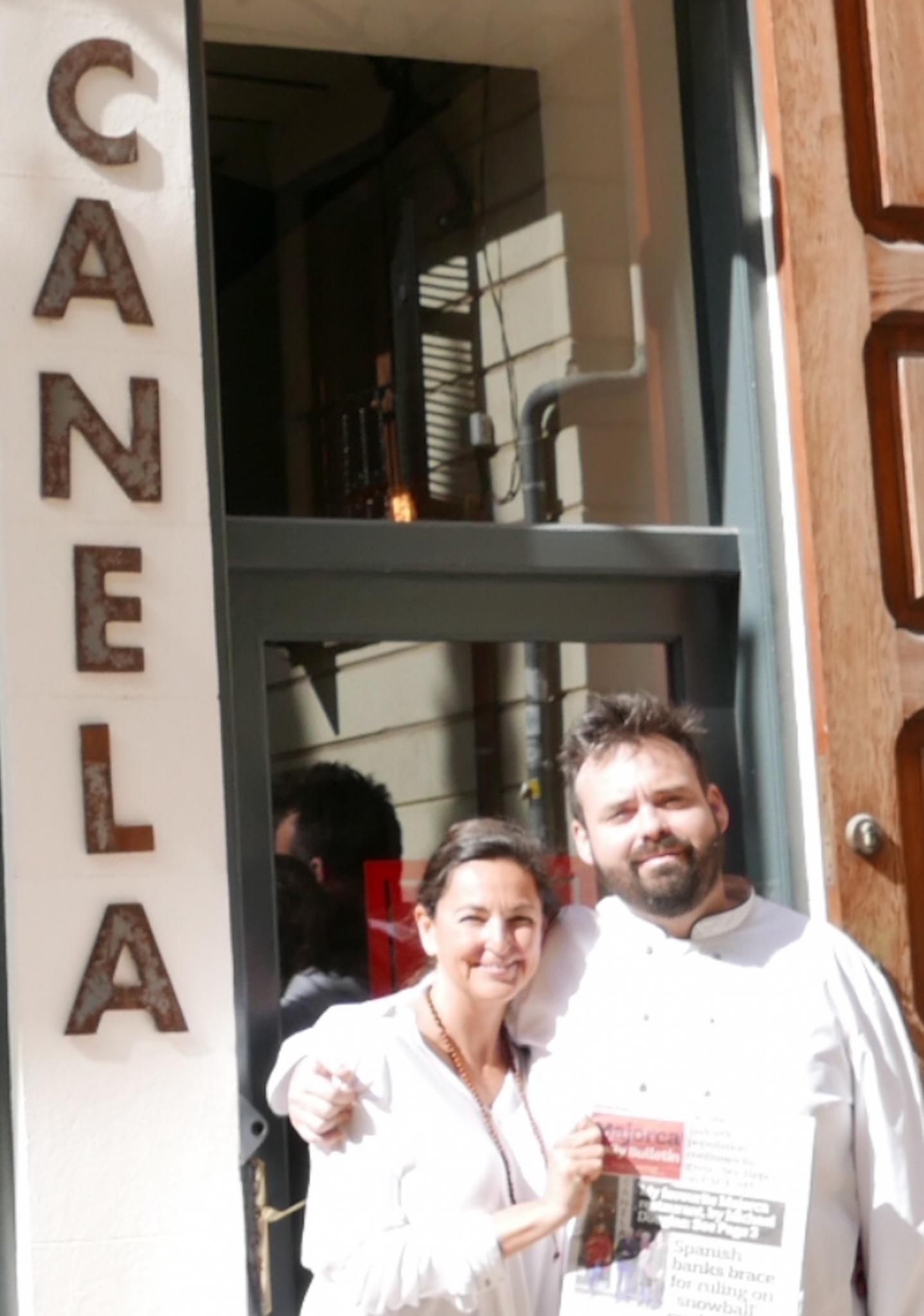 Irene Rigo & Majorcan Chef, Fabián Fuster at Canela in Palma.