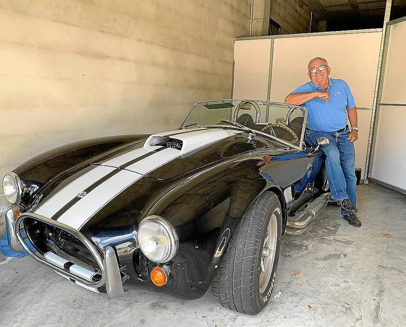 Manolo Barahona with the fully restored Cobra Convertible.