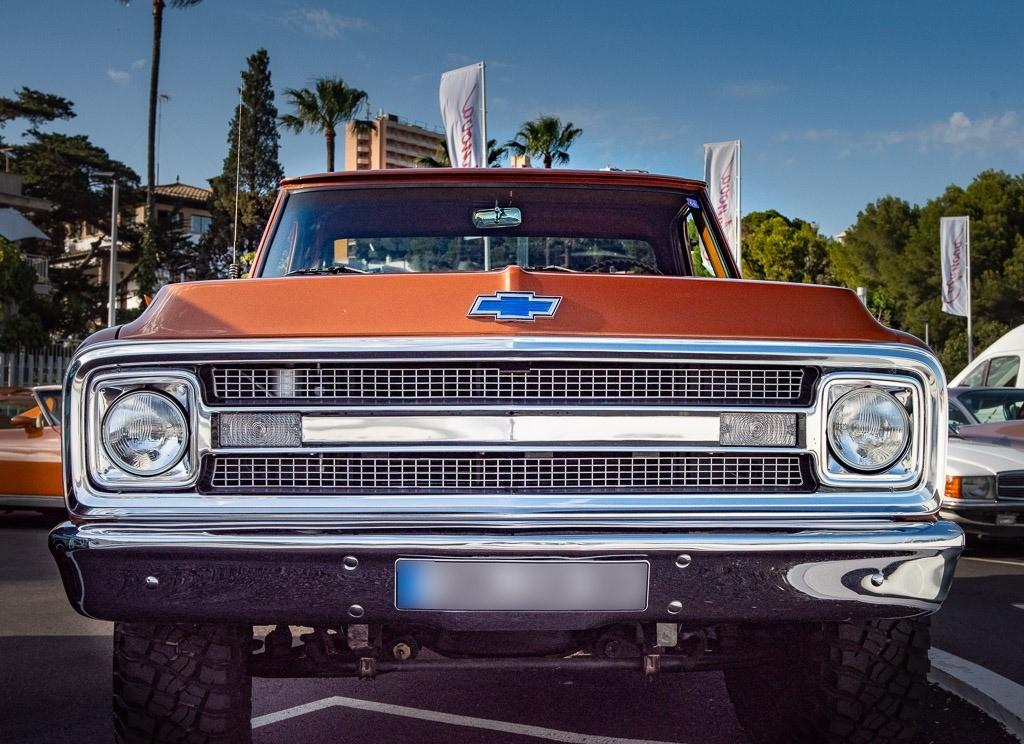 Chevy pickup is a rather welcome and imposing newcomer to the meeting.