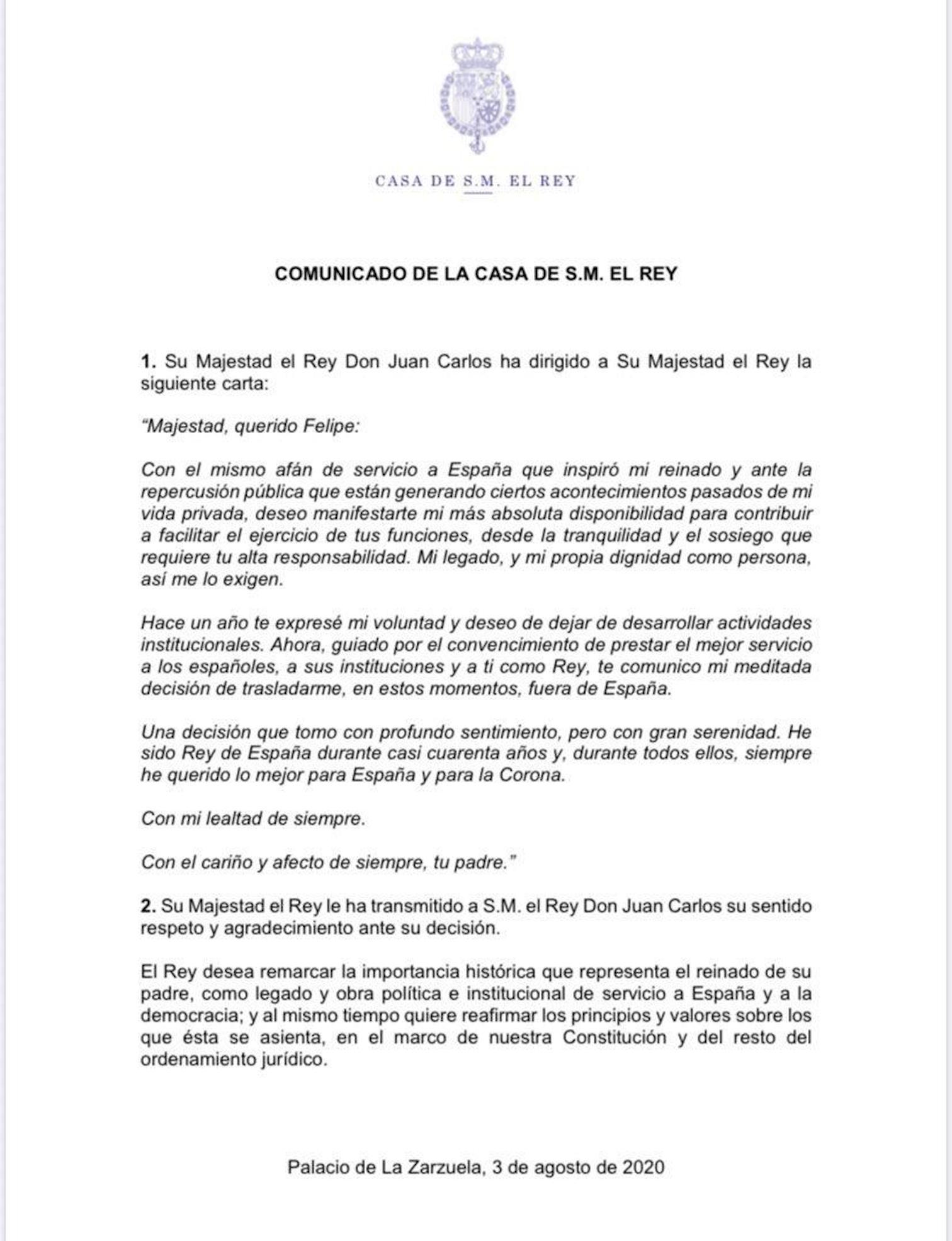 Letter from King Juan Carlos to King Felipe VI and the reply.