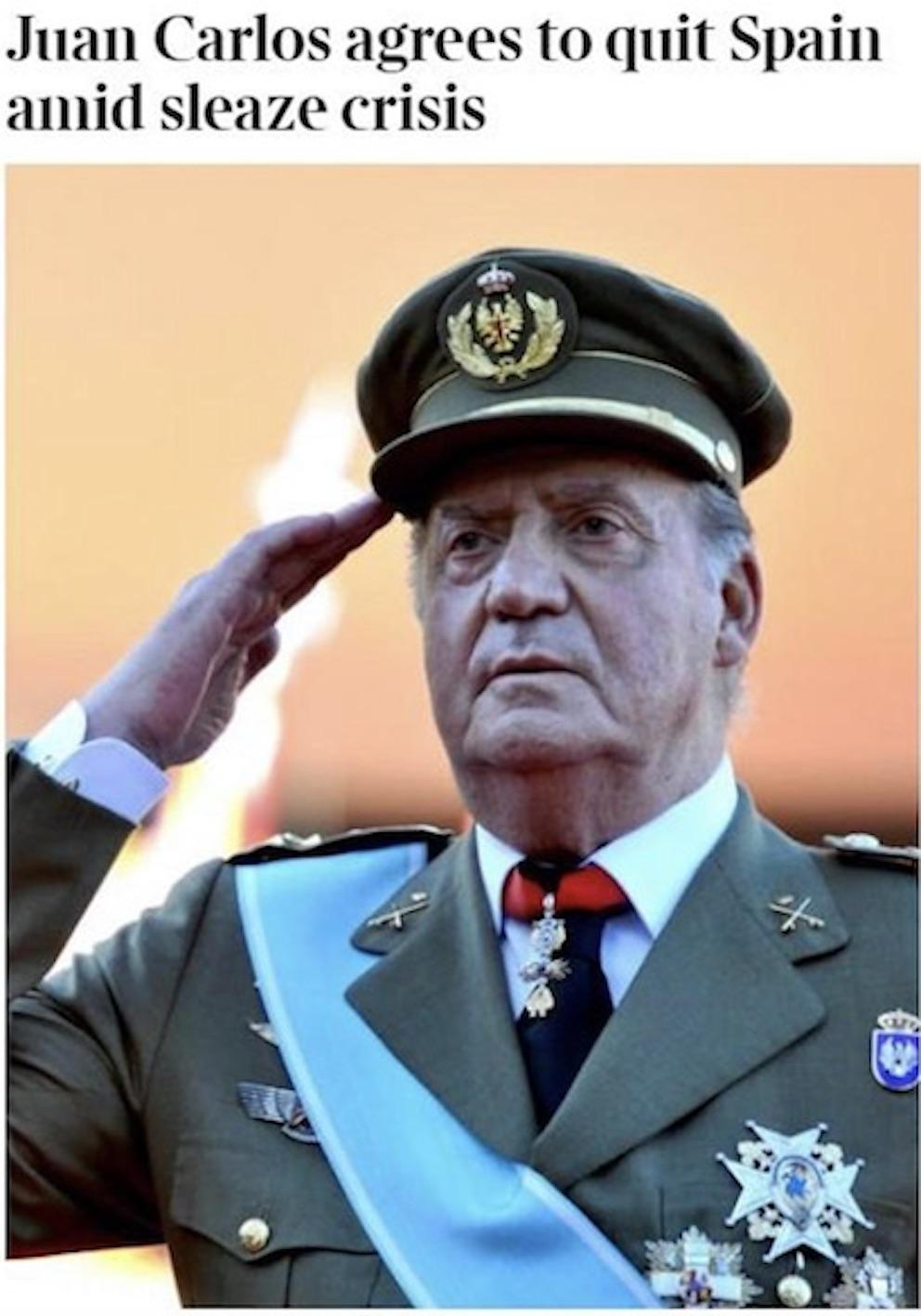 Times: Juan Carlos agrees to quit Spain amid sleaze crisis.