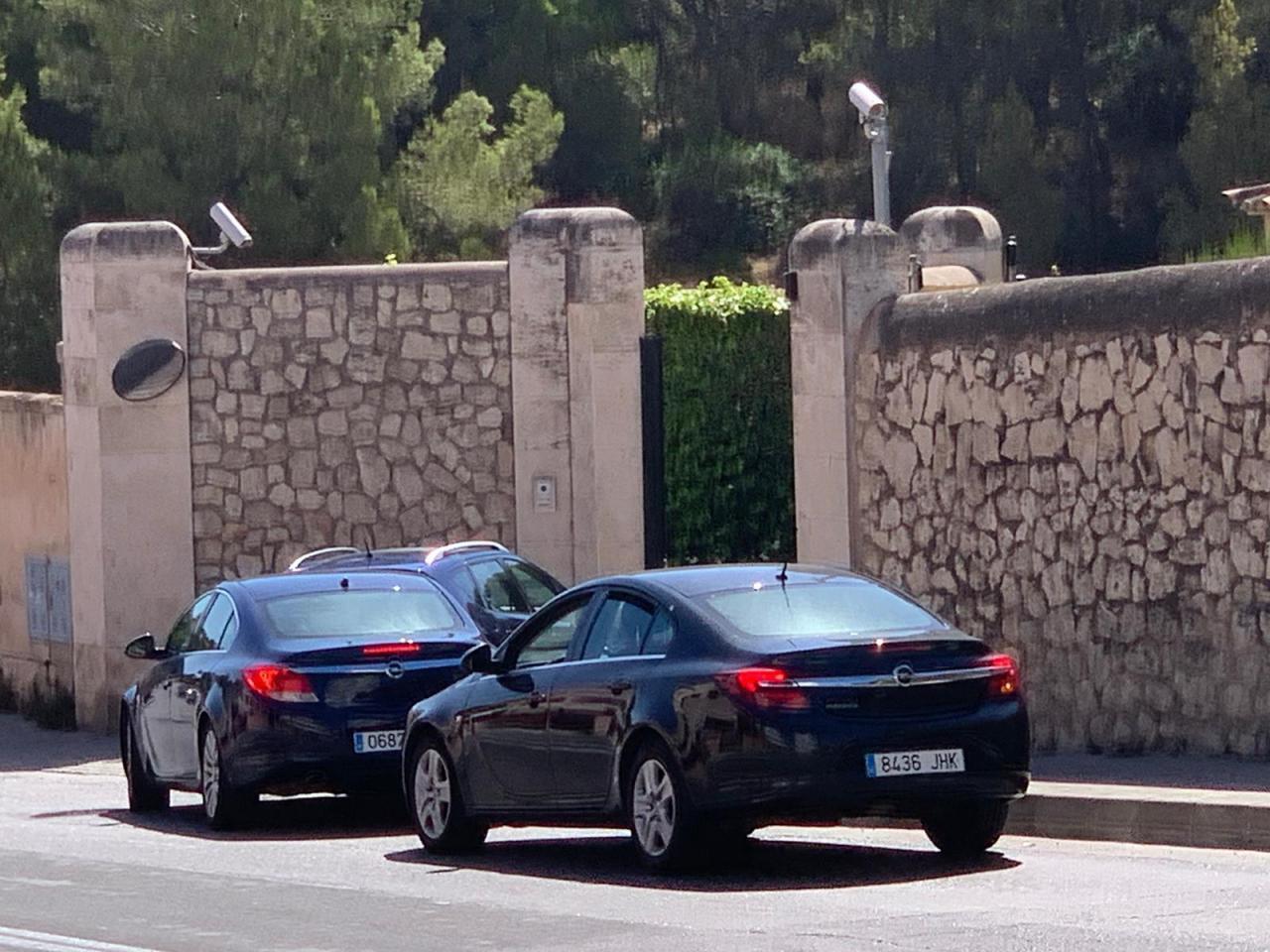 Royal cars arrive at Marivent Palace, Palma.