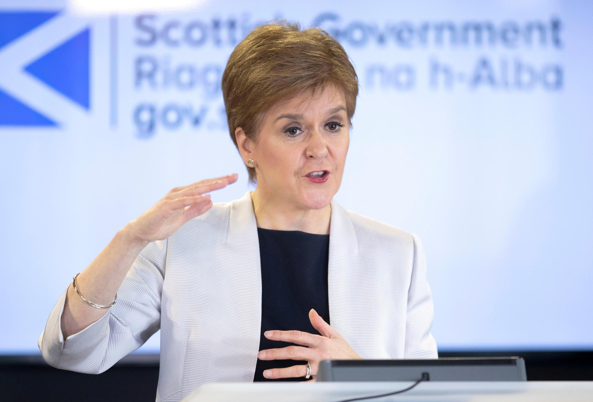 FILE PHOTO: Scotland's First Minister Nicola Sturgeon holds a news conference on the coronavirus disease (COVID-19) outbreak, at St Andrew's House in Edinburgh