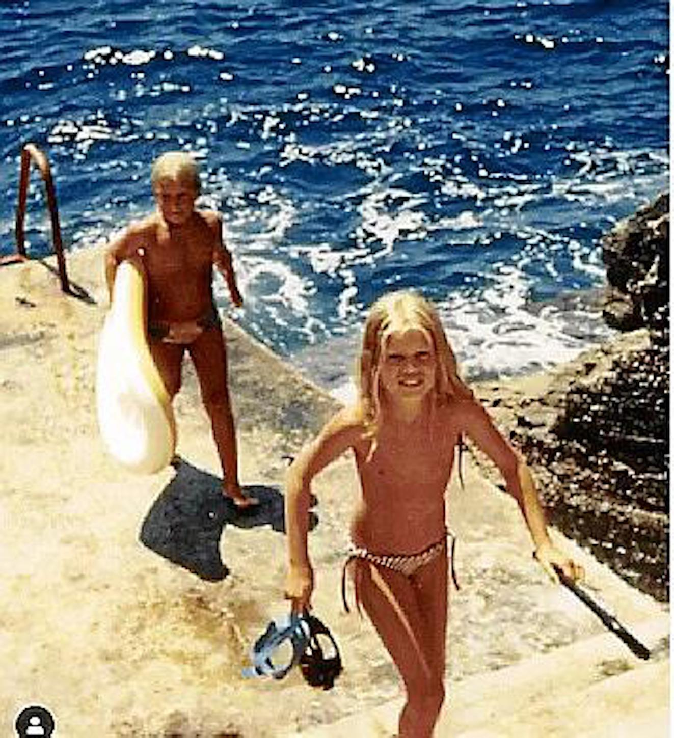 Claudia Schiffer and her brother in Puerto Andratx.