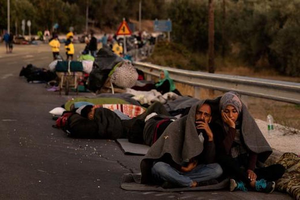 Hundreds of Moria Camp refugees are sleeping in the streets.