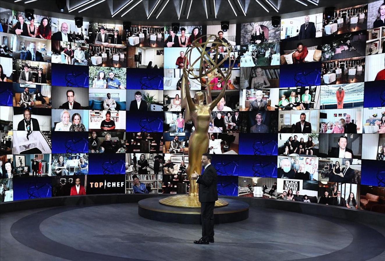 Guests join Jimmy Kimmel via webcam during Virtual Emmys via webcam.