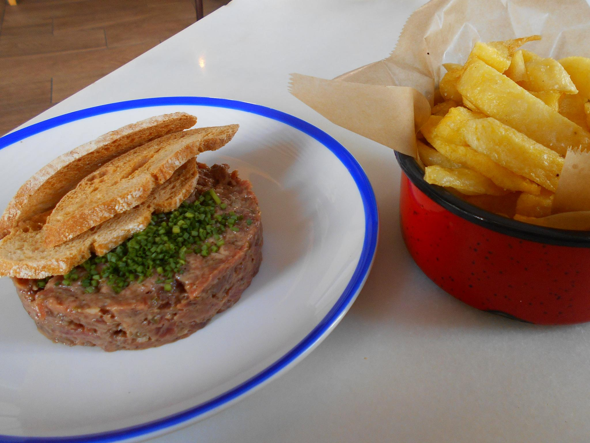 The steak tartar was discoloured and too peppery