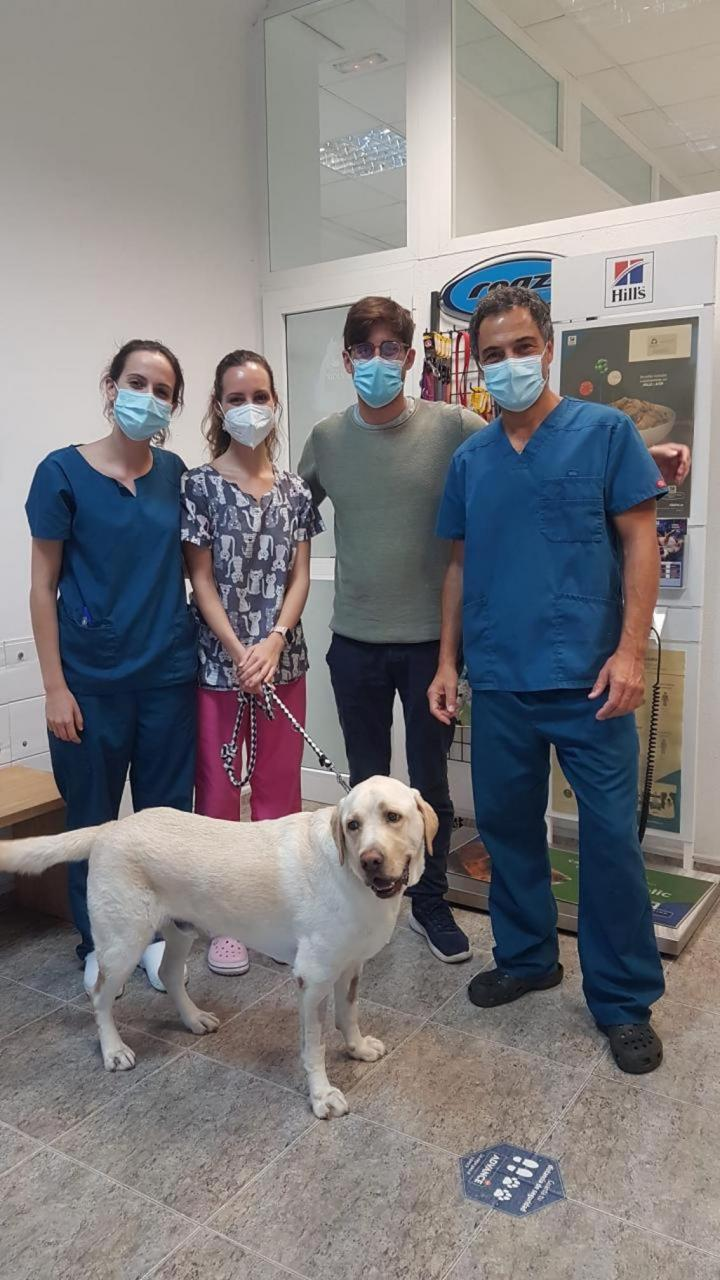 Veterinarian Marcos Makowski with owners of poisoned dog.