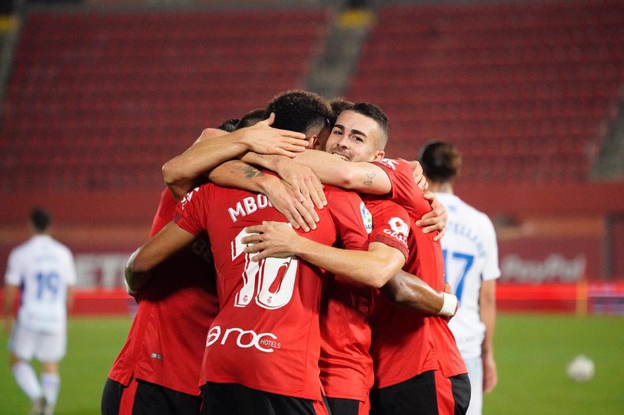 Real Mallorca players celebrate against Ponferradina