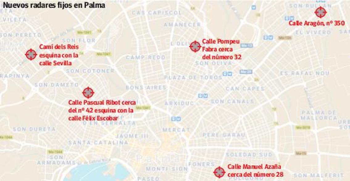 Nuevos radares de tráfico en Palma.