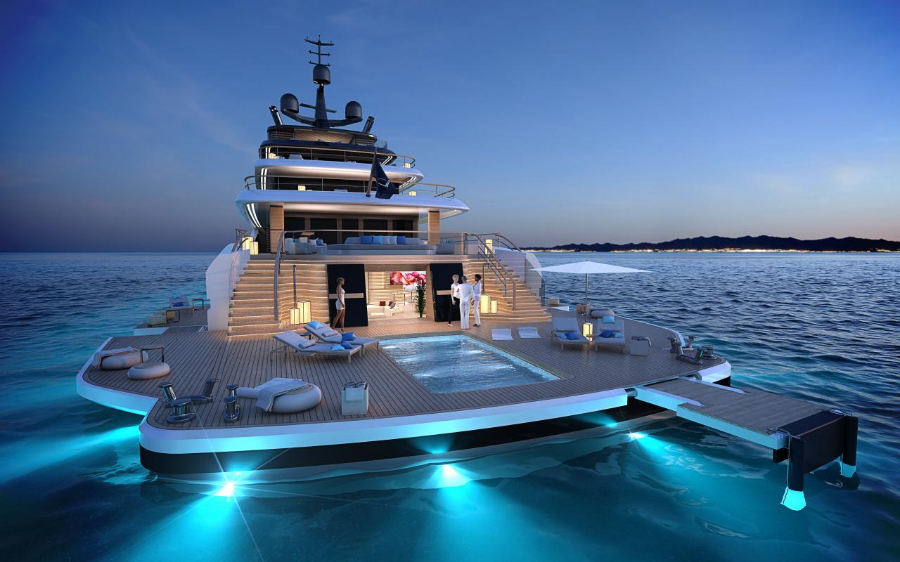 78 metre Slipstream with The Island (lights)