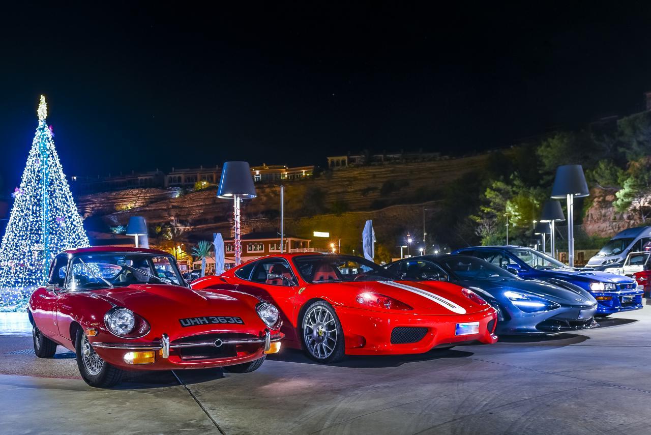 E-type with Ferrari, McLaren and the Subaru