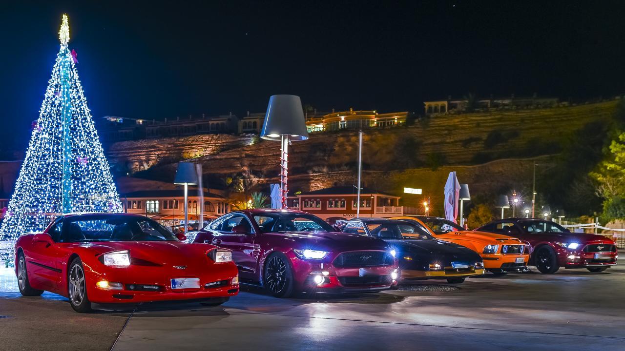 Corvette, Mustang, Pontiac Fiero and two Mustangs.