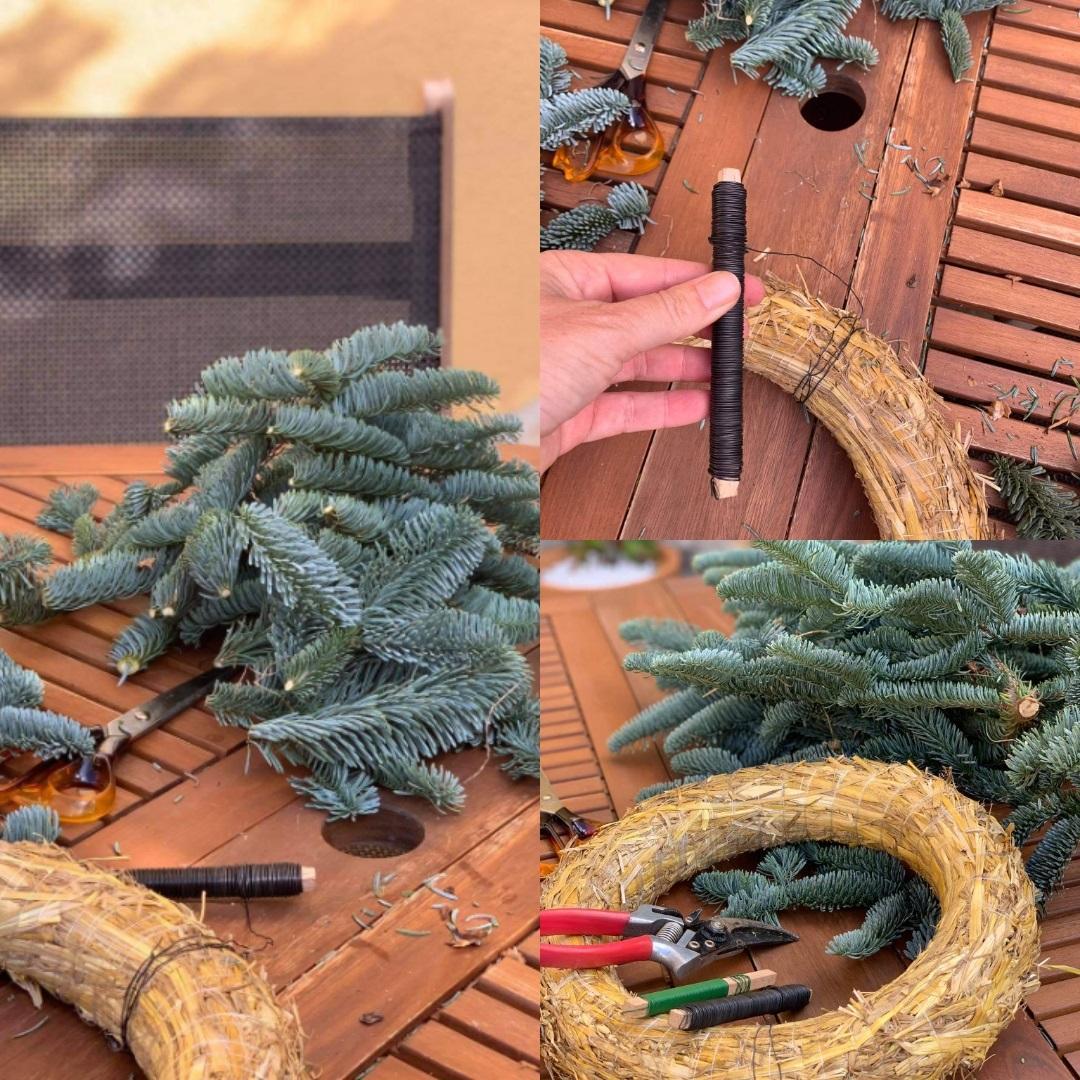 Step 1 - 4 in wreath making