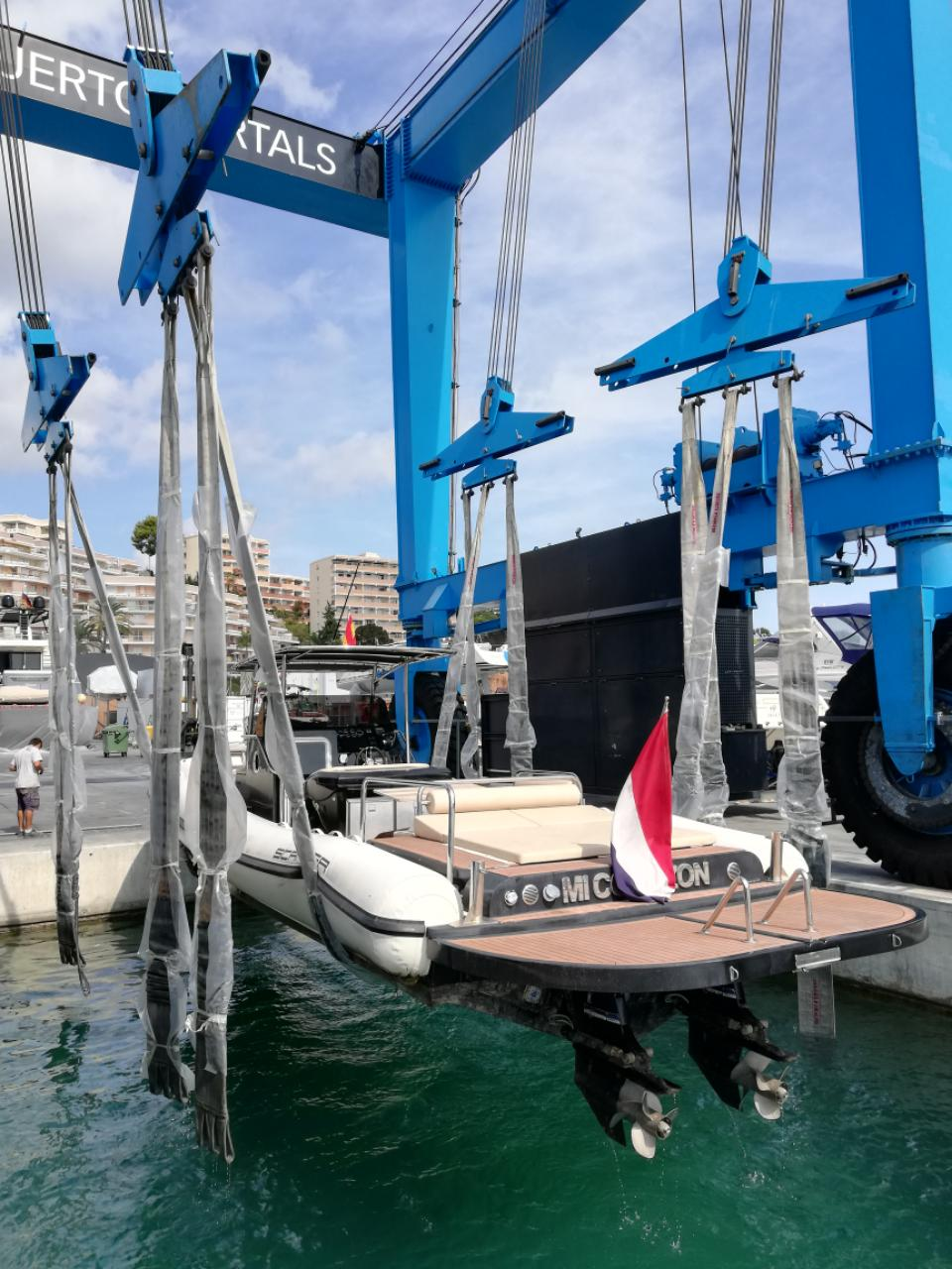 A Scanner RIB being lifted out in Puerto Portals.
