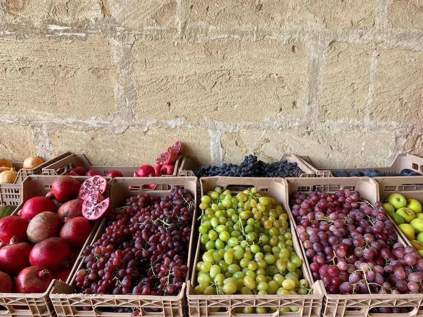 Boxes of fruit harvested on the farm.