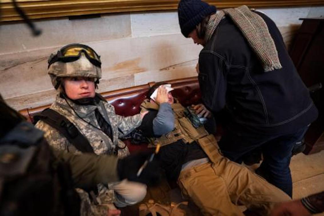 Injured security guard in Capitol Building.