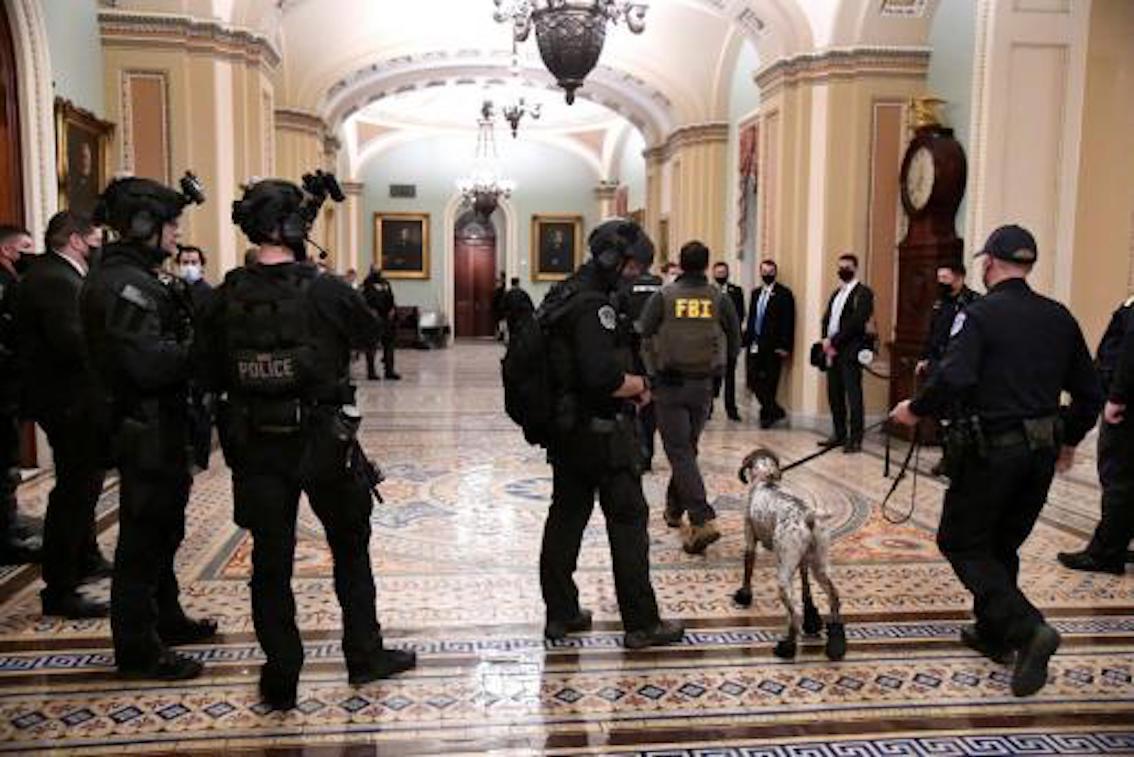 Police & FBI inside the Capitol Building.
