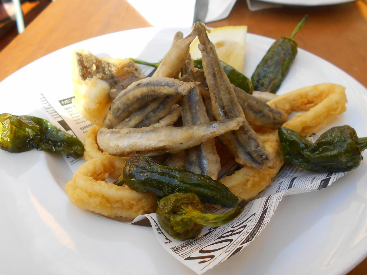 The calamares and deep-fried boquerones