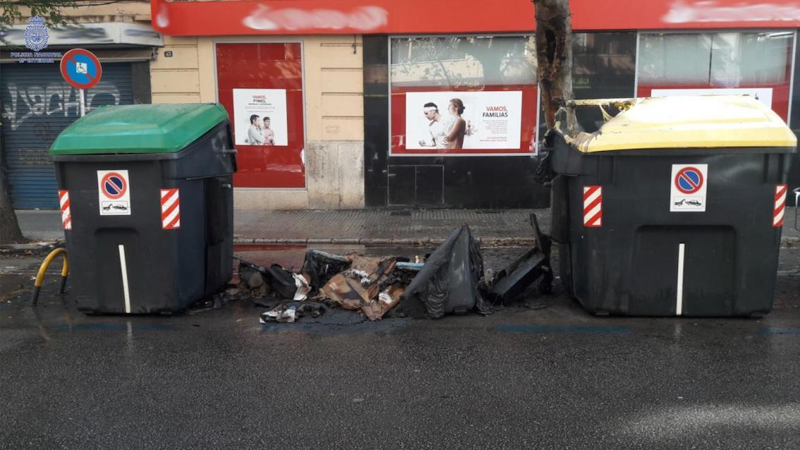 Burned rubbish container in Palma.