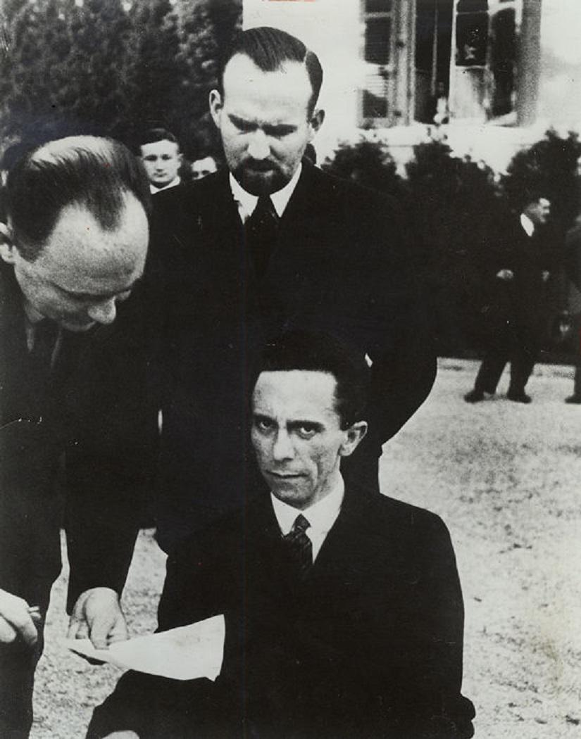 Goebbels looks at the camera not very happily
