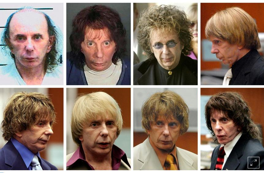 Phil Spector wearing different wigs during his trial.