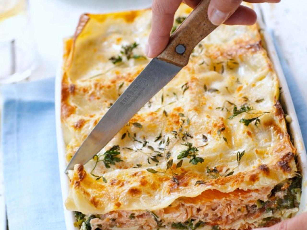 Salmon, prawn & spinach lasagna