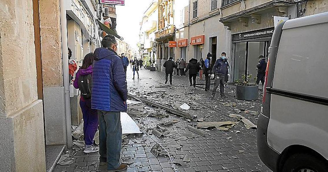 Rubble in the streets in Llucmajor.