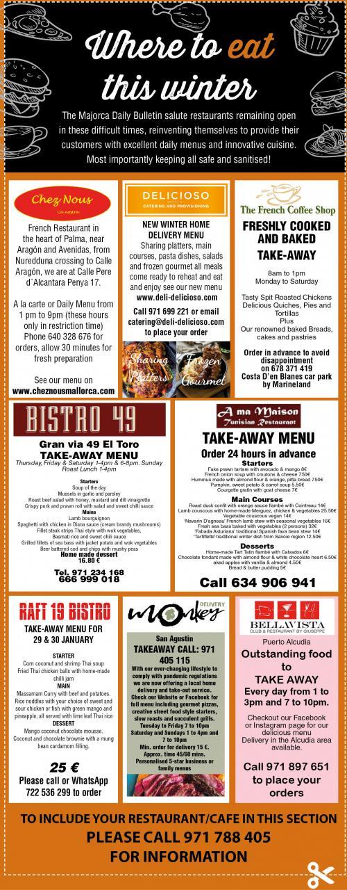 Restaurants taking part in Bulletin offer