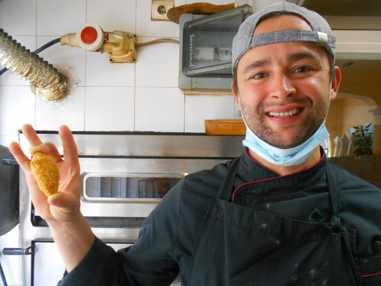 Michael shows one of his aubergine croquettes