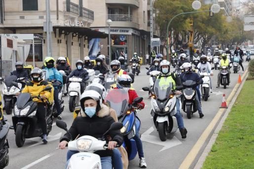 Delivery riders' protest in Palma, Mallorca