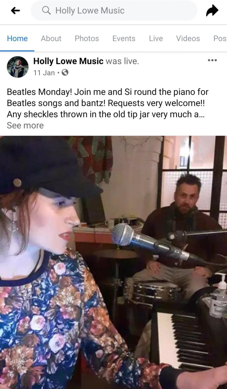 Holly and drummer Simon on a live feed on Facebook from January 2021