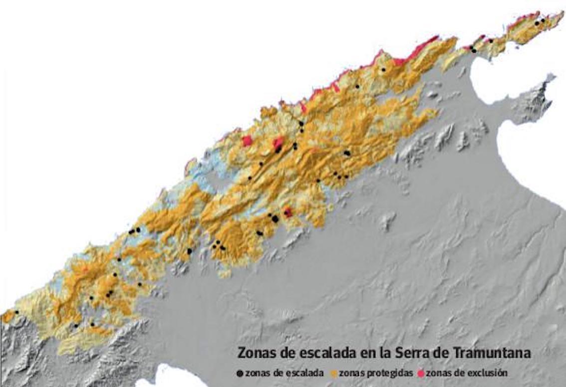 Serra de Tramuntana Climbing Zones, Mallorca: Climbing Zones in Black; Protected Zones in Yellow; Exclusion Zones in Pink
