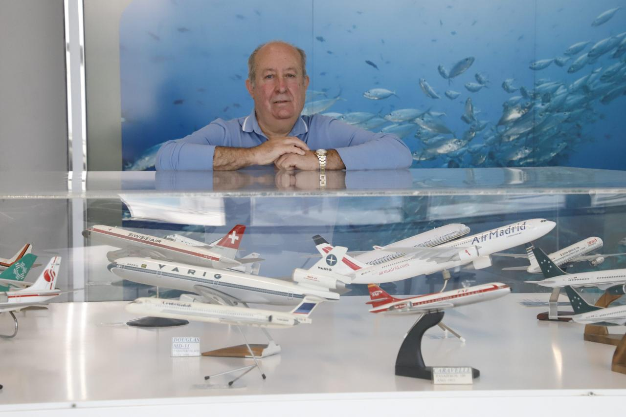 Juan Sanchez Vidal with some of his planes.